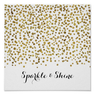 Gold Confetti Dot Sparkle and Shine Poster
