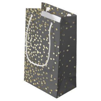 Gold Confetti Dots Elegant Grey Vintage Wedding Small Gift Bag