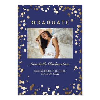 Gold Confetti Dots Navy Elegant Photo Graduation Card