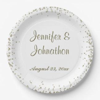 Gold Confetti Dots Wedding Reception 9 Inch Paper Plate