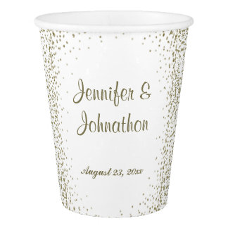 Gold Confetti Dots Wedding Reception Paper Cup