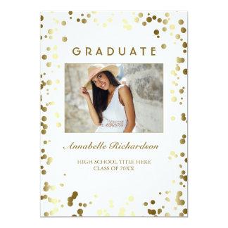 Gold Confetti Dots White Elegant Photo Graduation Card