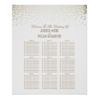 Gold Confetti Dots White Wedding Seating Chart