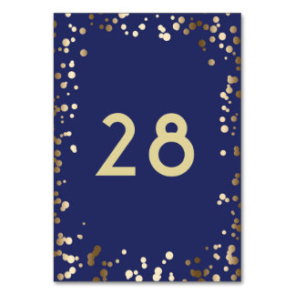 Gold Confetti Elegant Navy Wedding Card