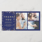 Gold Confetti Elegant Navy Wedding Thank You