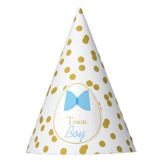 Gold Confetti Gender Reveal Bow Tie Team Boy Party Hat