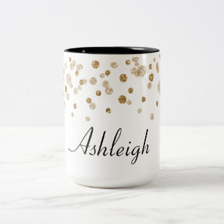Gold Confetti Glam Glitter Two-Tone Coffee Mug
