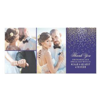 Gold Confetti Glamour Navy Wedding Thank You Customised Photo Card