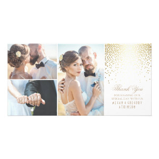 Gold Confetti Glamour White Wedding Thank You Customized Photo Card