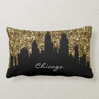Gold Confetti Glitter Chicago Skyline Landmark Lumbar Cushion