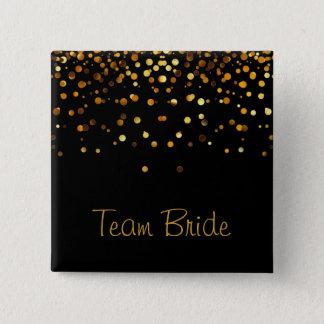 Gold Confetti Glitter Faux Foil Black Team Bride 15 Cm Square Badge