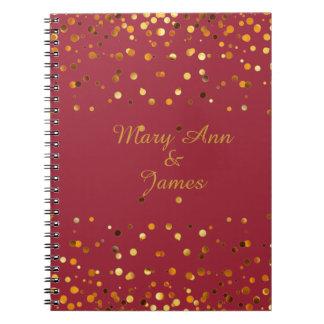 Gold Confetti Glitter Faux Foil Maroon craft Notebook
