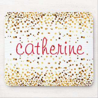 Gold Confetti Glitter Faux Foil Pink Glittery Mouse Pad