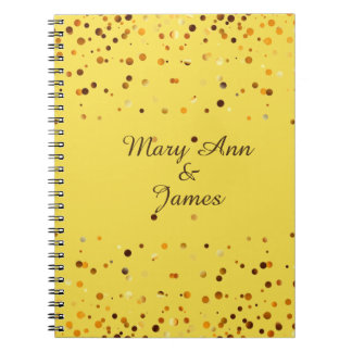 Gold Confetti Glitter Faux Foil Yellow craft Notebook