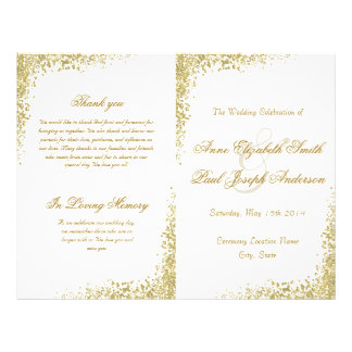 Gold confetti & Glitter folded program Flyer