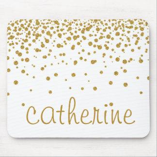 Gold Confetti Glitter golden Faux Foil Glittery Mouse Pad