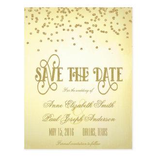 Gold confetti & glitter Save the Date II Postcard