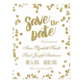 Gold confetti & glitter Save the Date Postcard