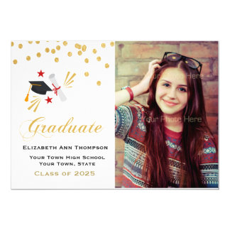 Gold Confetti Graduation Photo Card