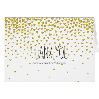 Gold Confetti Hearts Thank you Note Card