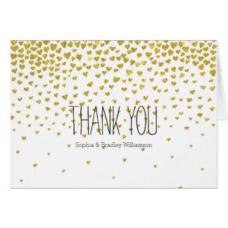 Gold Confetti Hearts Thank you Card
