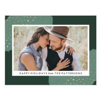 Gold Confetti   Holiday Photo Postcard