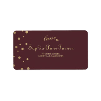Gold Confetti Love Burgundy Wedding Address Label