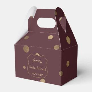 Gold Confetti Love Burgundy Wedding Favour Box