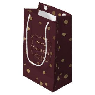 Gold Confetti Love Burgundy Wedding Small Gift Bag