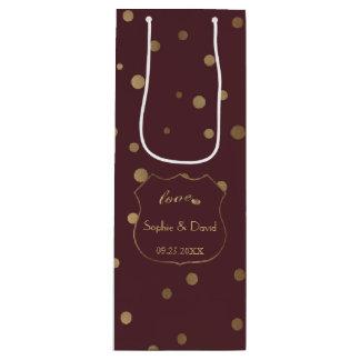 Gold Confetti Love Burgundy Wedding Wine Gift Bag