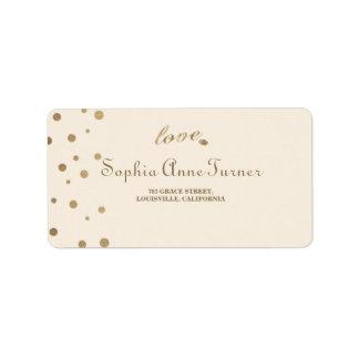 Gold Confetti Love Champagne Wedding Address Label