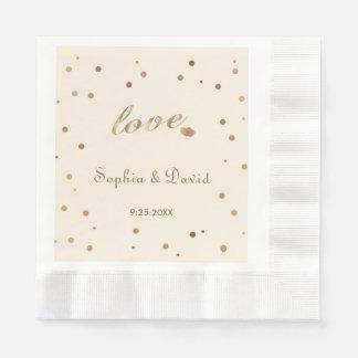 Gold Confetti Love Champagne Wedding Disposable Napkins