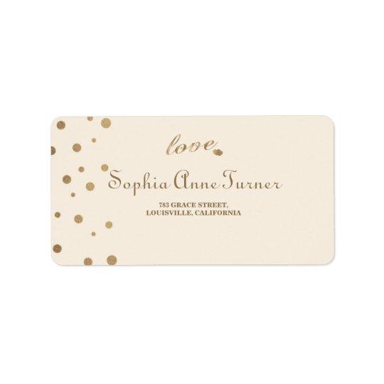 Gold Confetti Love Champagne Wedding Label