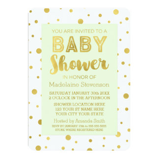 Gold Confetti Mint Green Baby Shower Invitations
