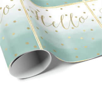 Gold Confetti Mint Watercolor Hello Wrapping Paper