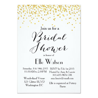Gold Confetti Modern Bridal Shower Invitation