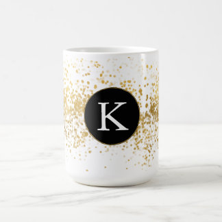 Gold Confetti Monogram Coffee Mug