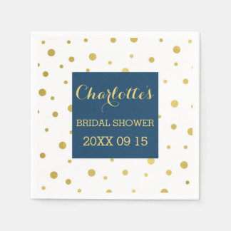 Gold Confetti Navy Blue Bridal Shower Paper Serviettes