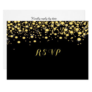 Gold Confetti on Black, Custom, Card