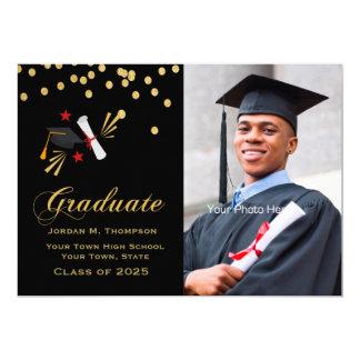 Gold Confetti on Black Graduation Photo Card