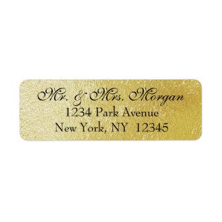 Gold Confetti on Black - Return Address Labels