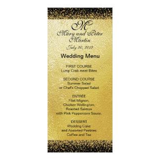 Gold Confetti on Black- Wedding Menu Card