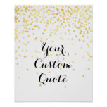 Gold confetti Personalised quote art print custom
