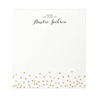 Gold Confetti Personalized Notepad Stationery