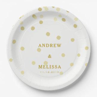 Gold Confetti  | Personalized Wedding Paper Plate