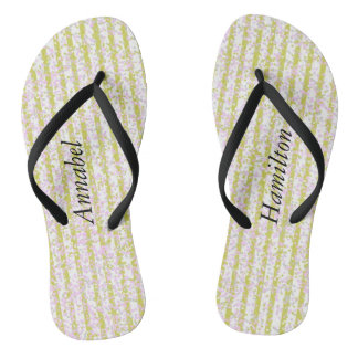 Gold Confetti Pin Strips  Flip Flops w/ your Name