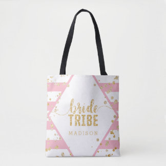 Gold Confetti Pink Stripes Wedding Bride Tribe Tote Bag