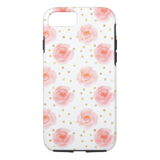 Gold Confetti Pink Watercolor Roses iPhone 8/7 Case