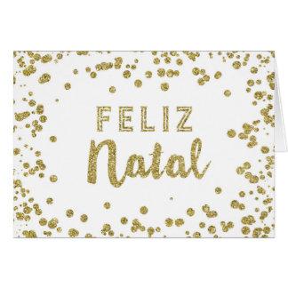 Gold Confetti Portuguese Christmas Card
