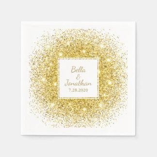Gold Confetti Romantic Elegant Wedding Custom Paper Serviettes